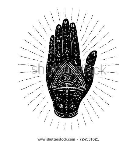 svg library stock Hamsa vector. Mystic hand with eye.