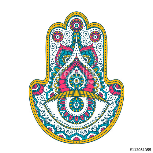 jpg transparent library Doodle hand drawn with. Hamsa vector.