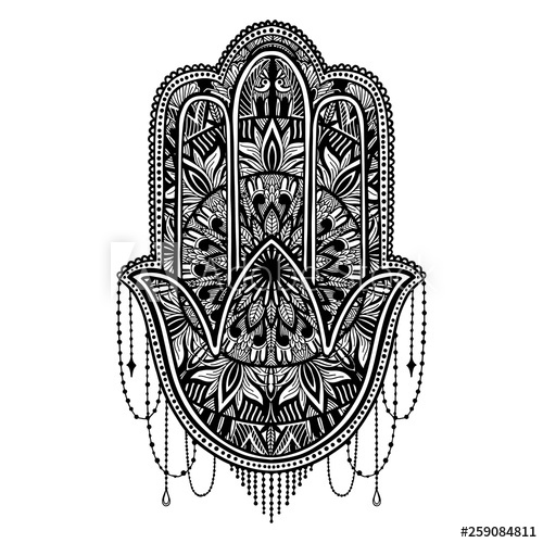 clip art freeuse Hamsa vector black and white. Talisman religion asian color.