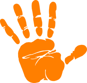 svg royalty free library Hand clipart orange. Print