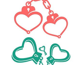 banner royalty free download Handcuff clipart heart. Handcuffs etsy cuffs police