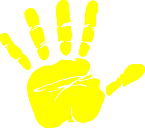 vector free Yellow . Handprint clipart
