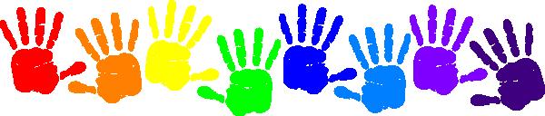 vector free stock Handprint clipart rainbow. Paint clip art handprints