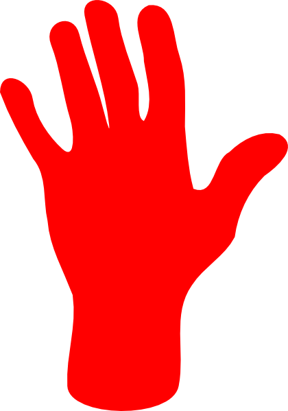 vector black and white Handprint clipart red. Palm hand clip art