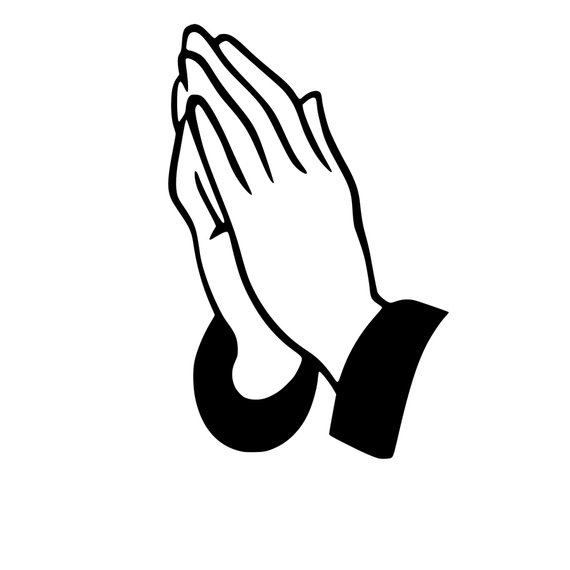 banner black and white Praying Hands Svg