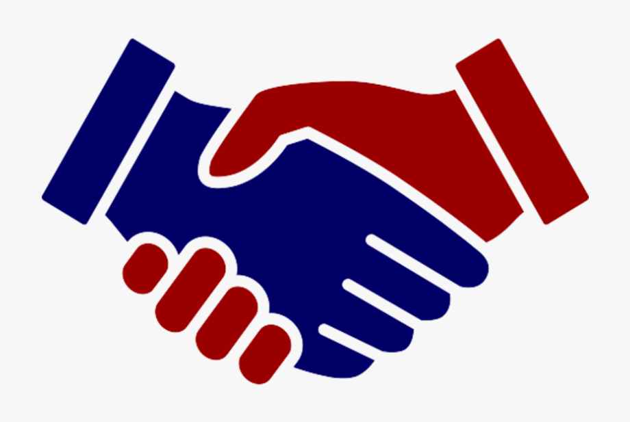 clipart transparent stock Red hand shake icon. Handshake clipart.