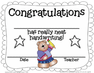 jpg black and white library Handwriting clipart neat work. Freebielicious certificate