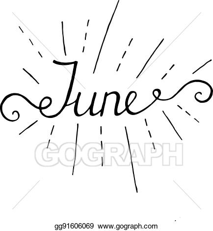 svg royalty free library Handwriting clipart summer. Vector art june lettering