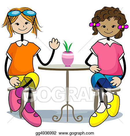 png black and white library Stock illustration friends . Hanging out with clipart.
