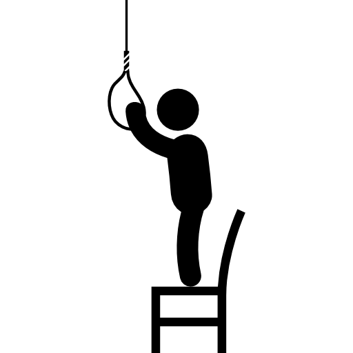banner library Hanging man silhouette at. Drawing rope hang