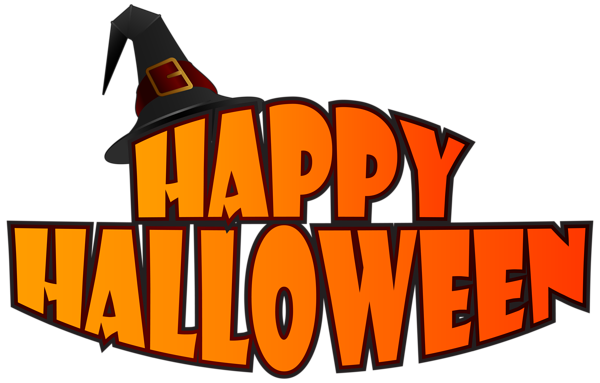 clipart Happy Halloween with Witch Hat PNG Clipart Image