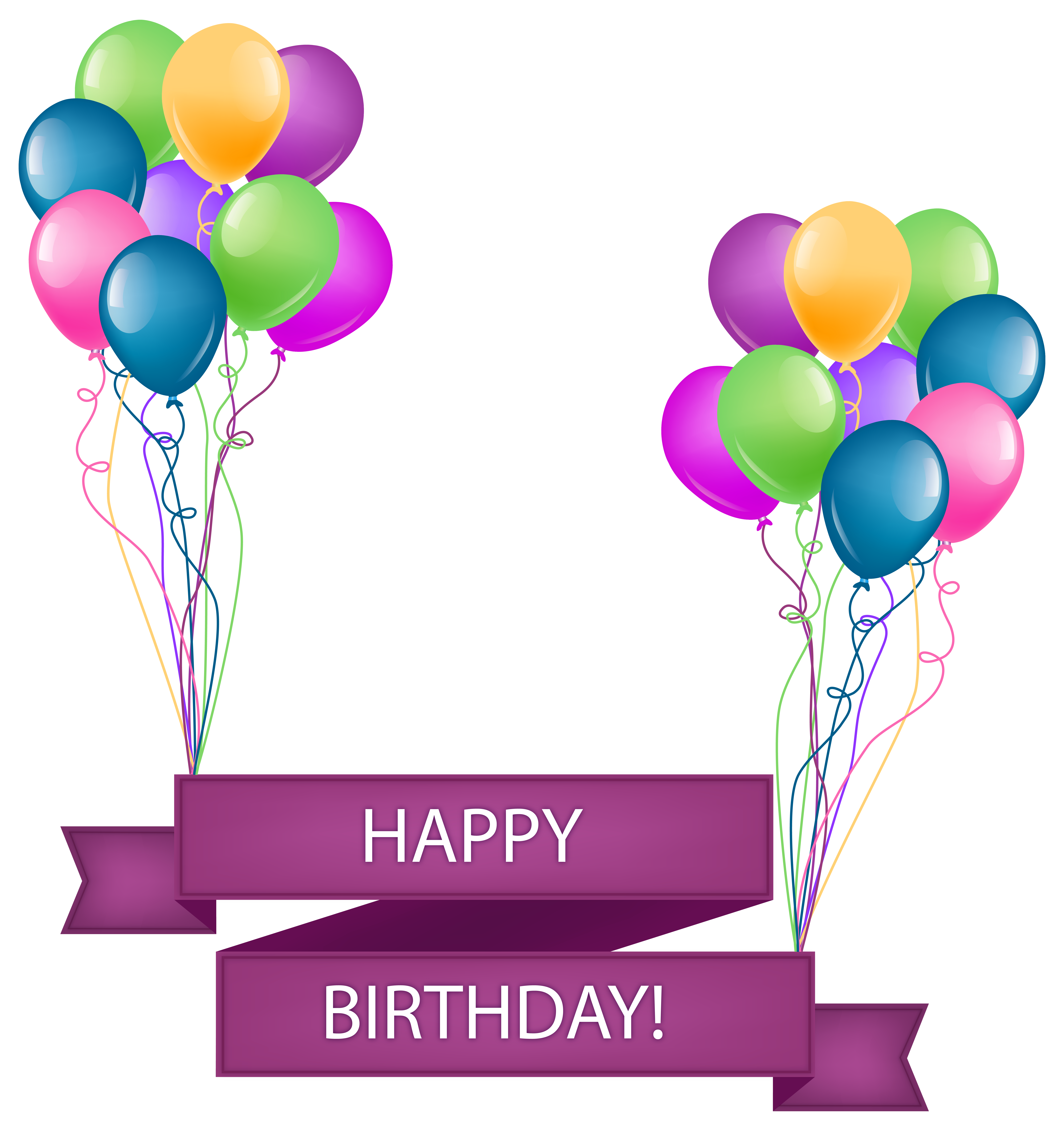 jpg stock Happy Birthday Banner with Balloons Transparent PNG Clip Art Image