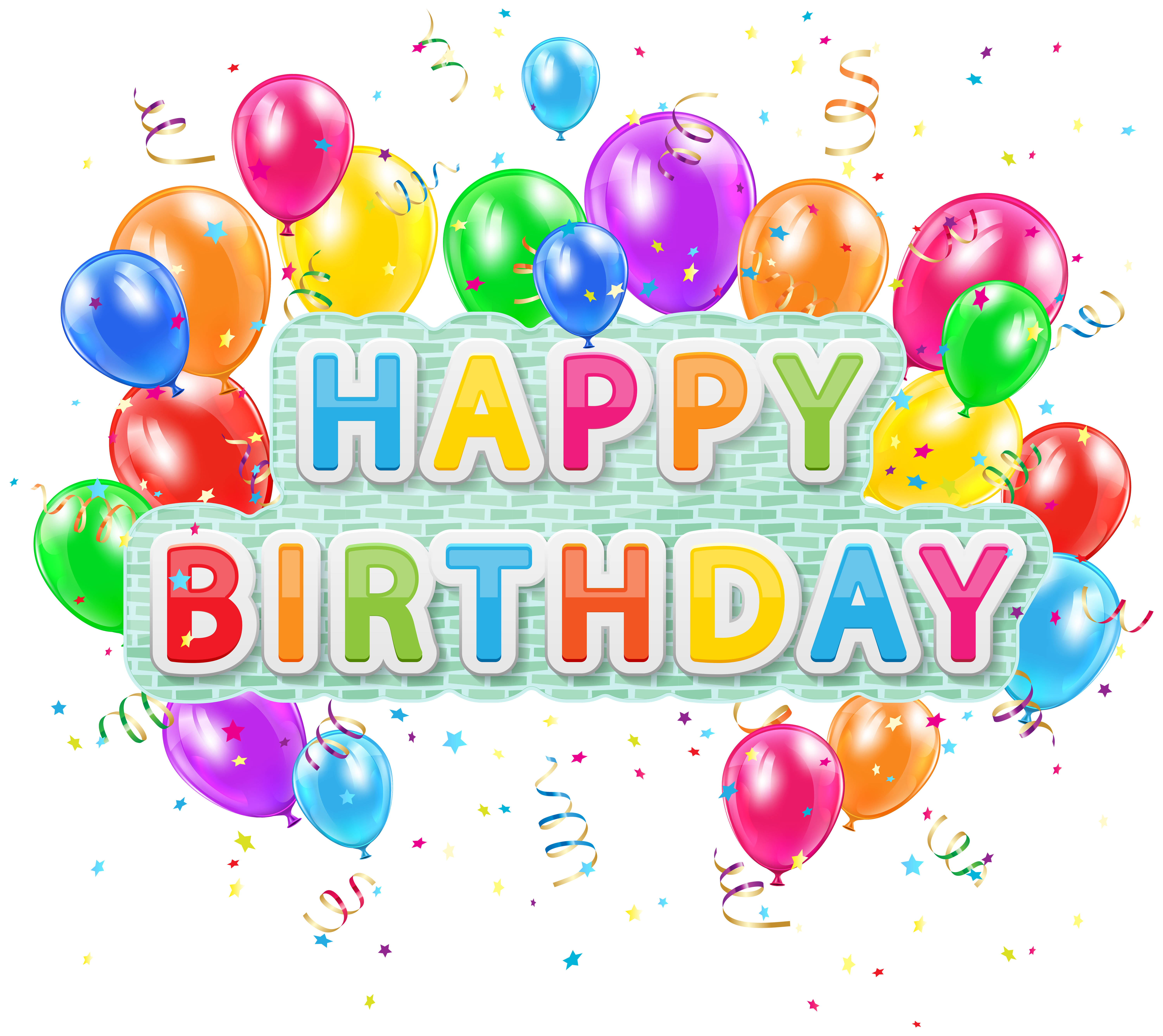 image free Happy birthday balloons clipart. Deco text with png