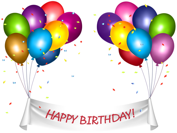 picture Transparent Happy Birthday Banner and Baloons PNG Clip Art