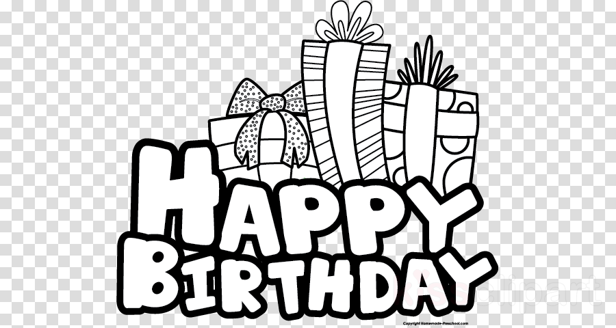 image library stock Hand . Happy birthday black and white clipart