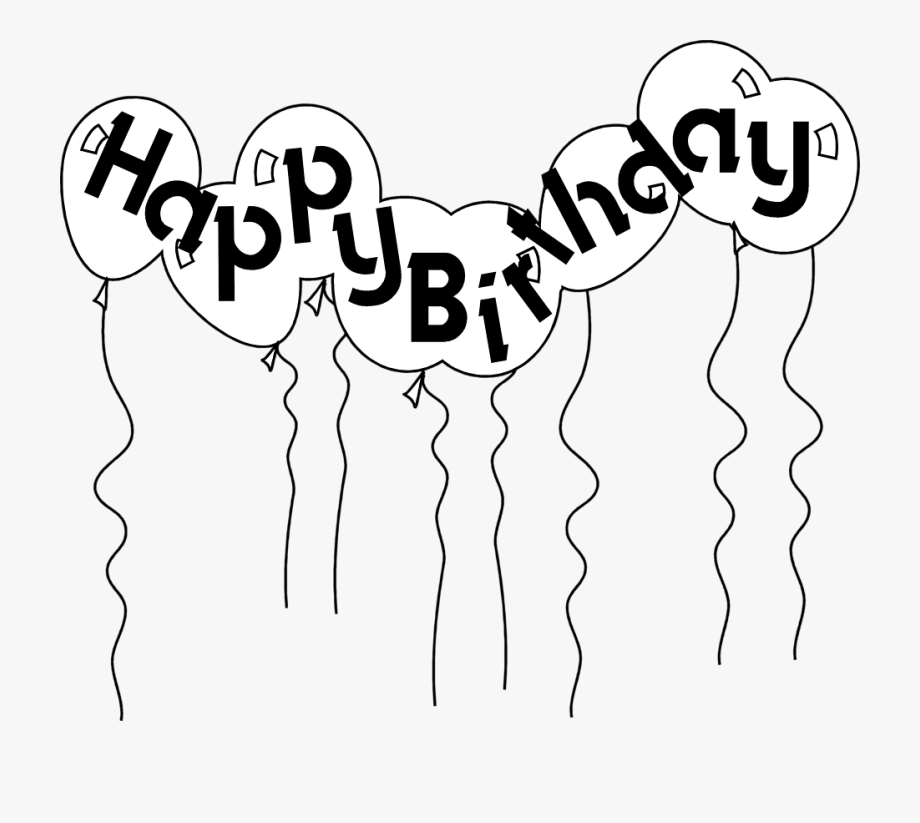 png royalty free stock Balloons free . Happy birthday black and white clipart