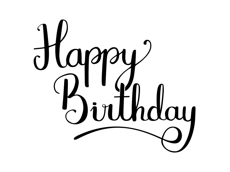 download Happy birthday black and white clipart. Dribbble clip art calligraphy