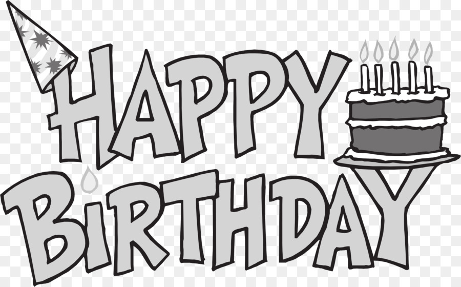 graphic transparent stock Png download . Happy birthday black and white clipart