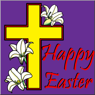 graphic transparent download Happy easter clipart religious. Clip art with cross