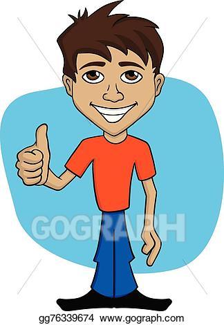 jpg library library Vector cartoon illustration of. Happy man clipart