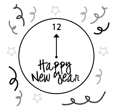 banner stock Happy New Year Clip Art Black And White