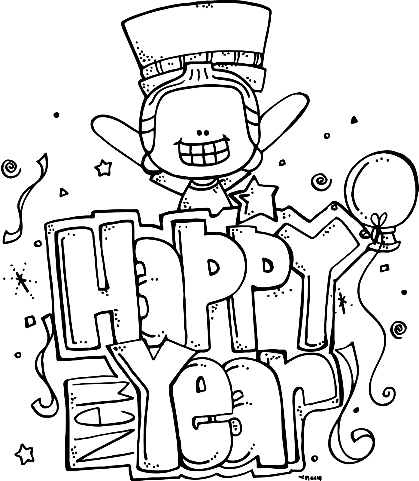 picture transparent library Happy new year clipart black and white. Melonheadz illustrating freebie ideas