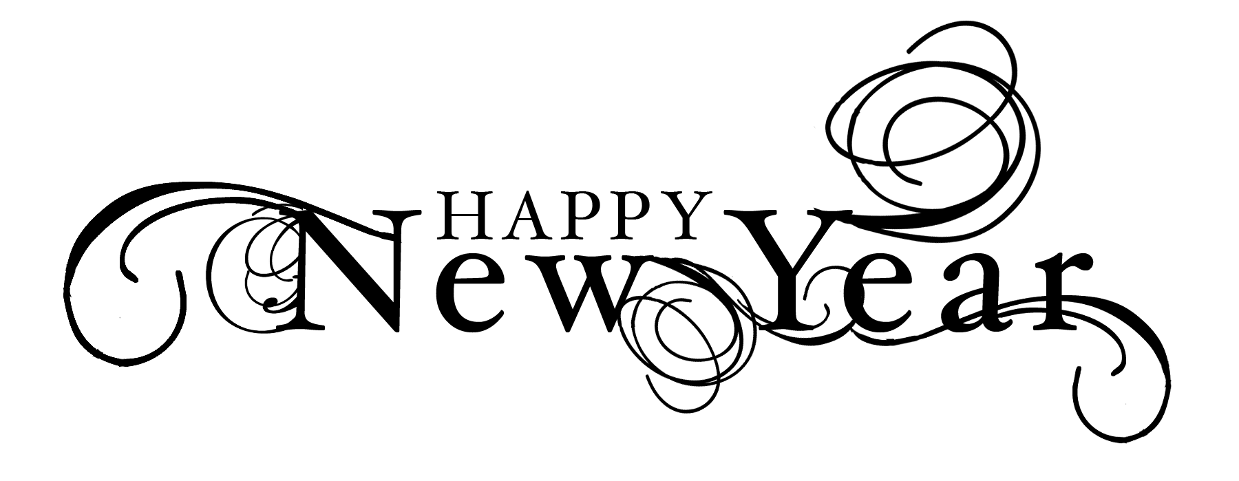 svg Free happy new years clipart. Black and white year