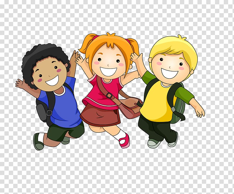 image transparent Happy students clipart. Three toddler wearing assorted