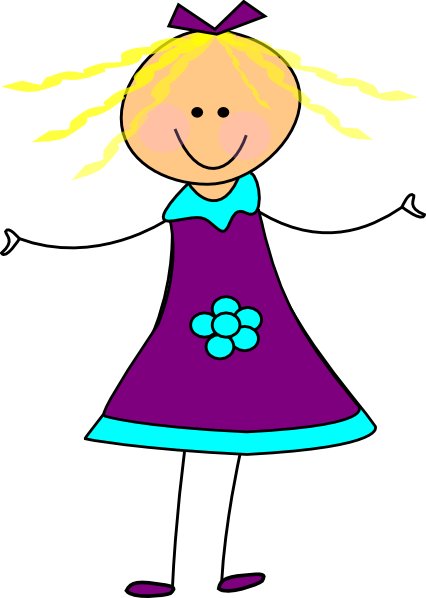 image freeuse Purple clip art at. Happy girl clipart