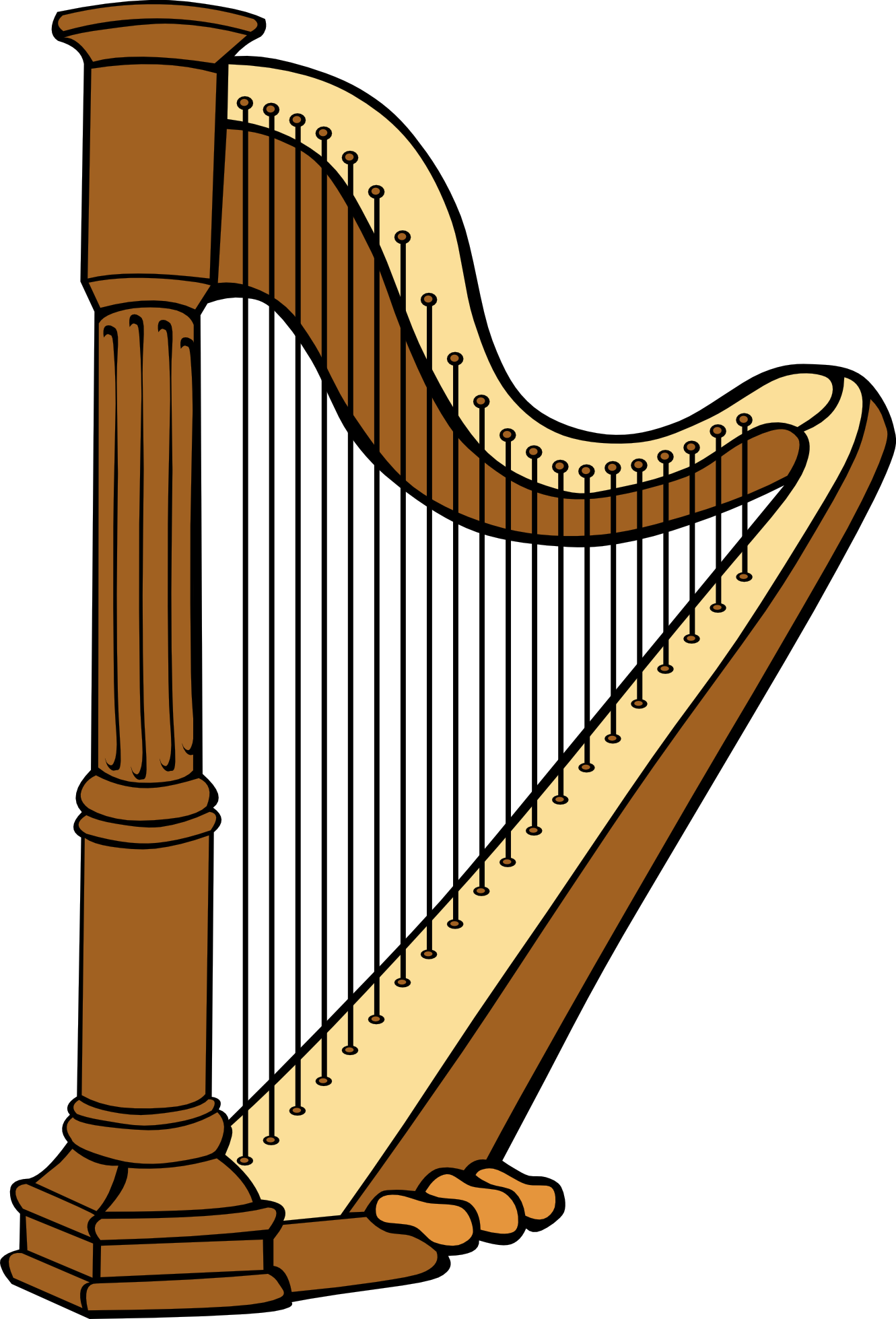svg library download . Harp clipart black and white