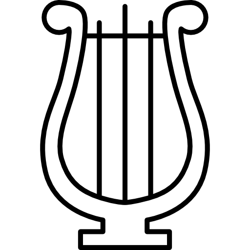 transparent library Classic musical instrument type. Harp clipart black and white