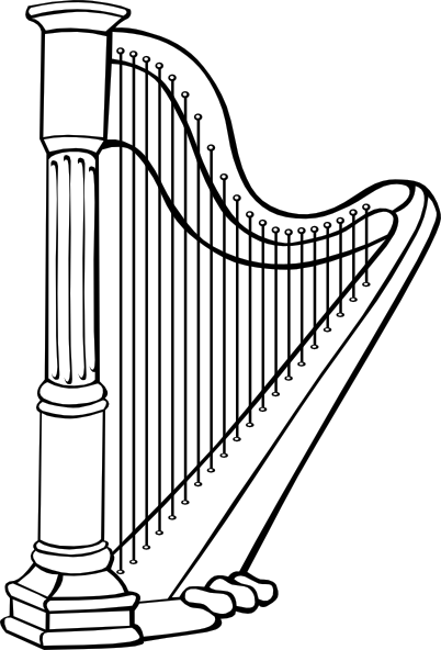graphic freeuse Clip art at clker. Harp clipart black and white