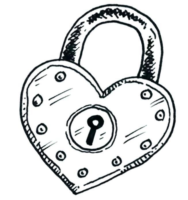 banner black and white Valentine drawing lock and key. Heart drawings free download