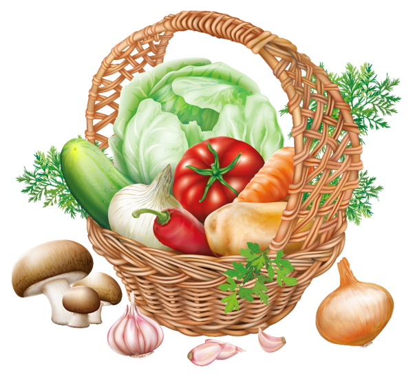 graphic freeuse library Basket with Vegetables PNG Clipart Image