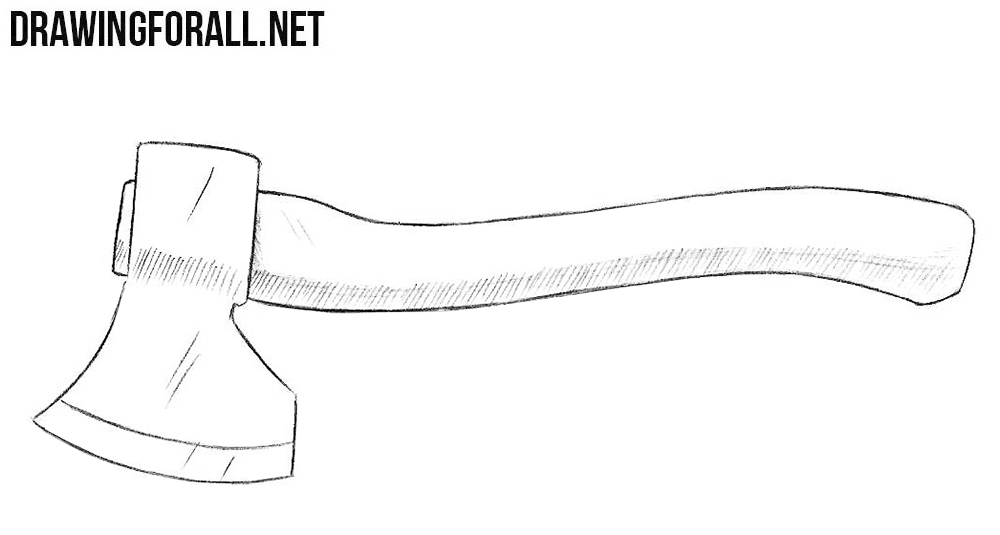 banner Hatchet drawing. How to draw an