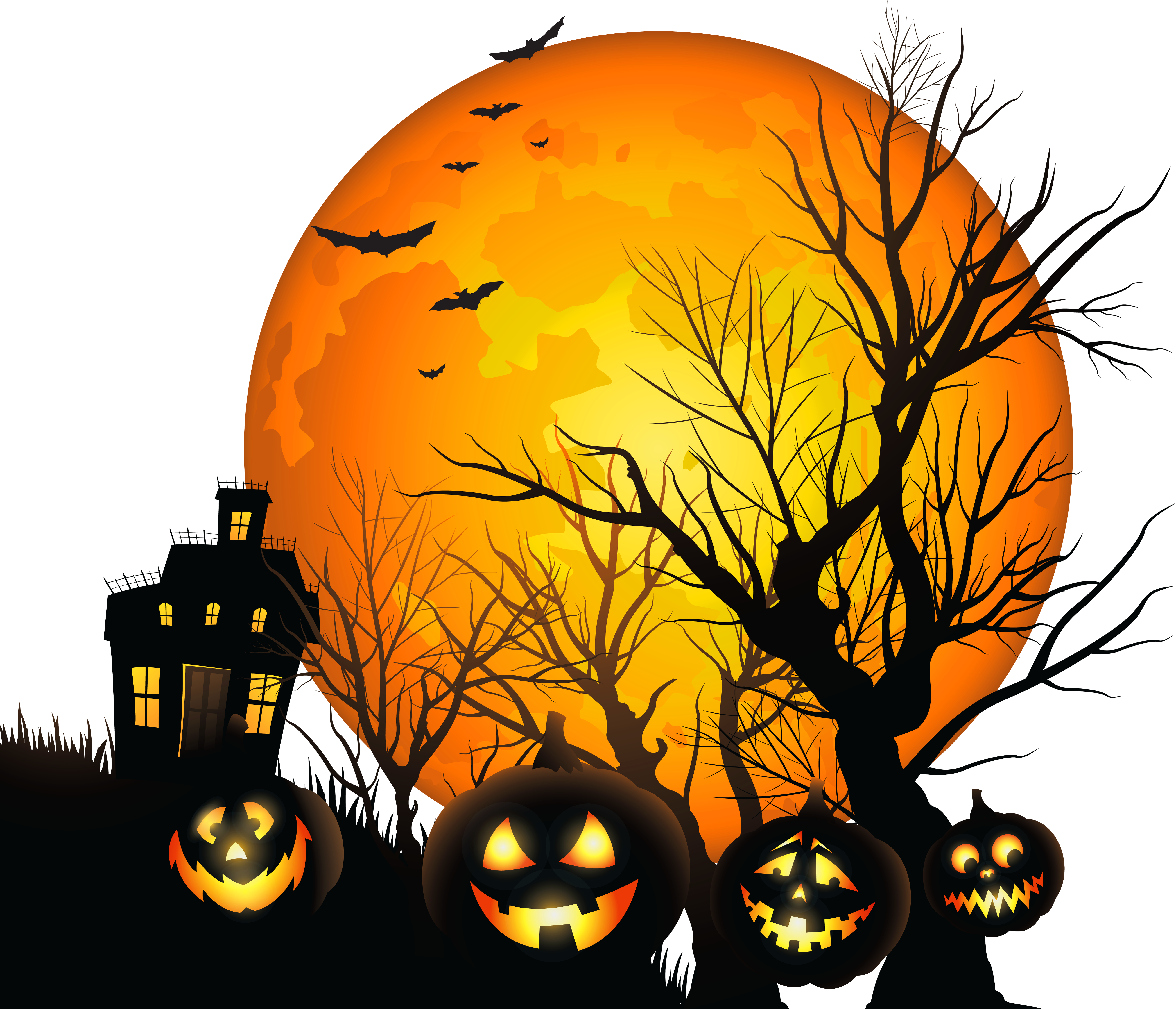 svg freeuse Haunted clipart. Large house and moon