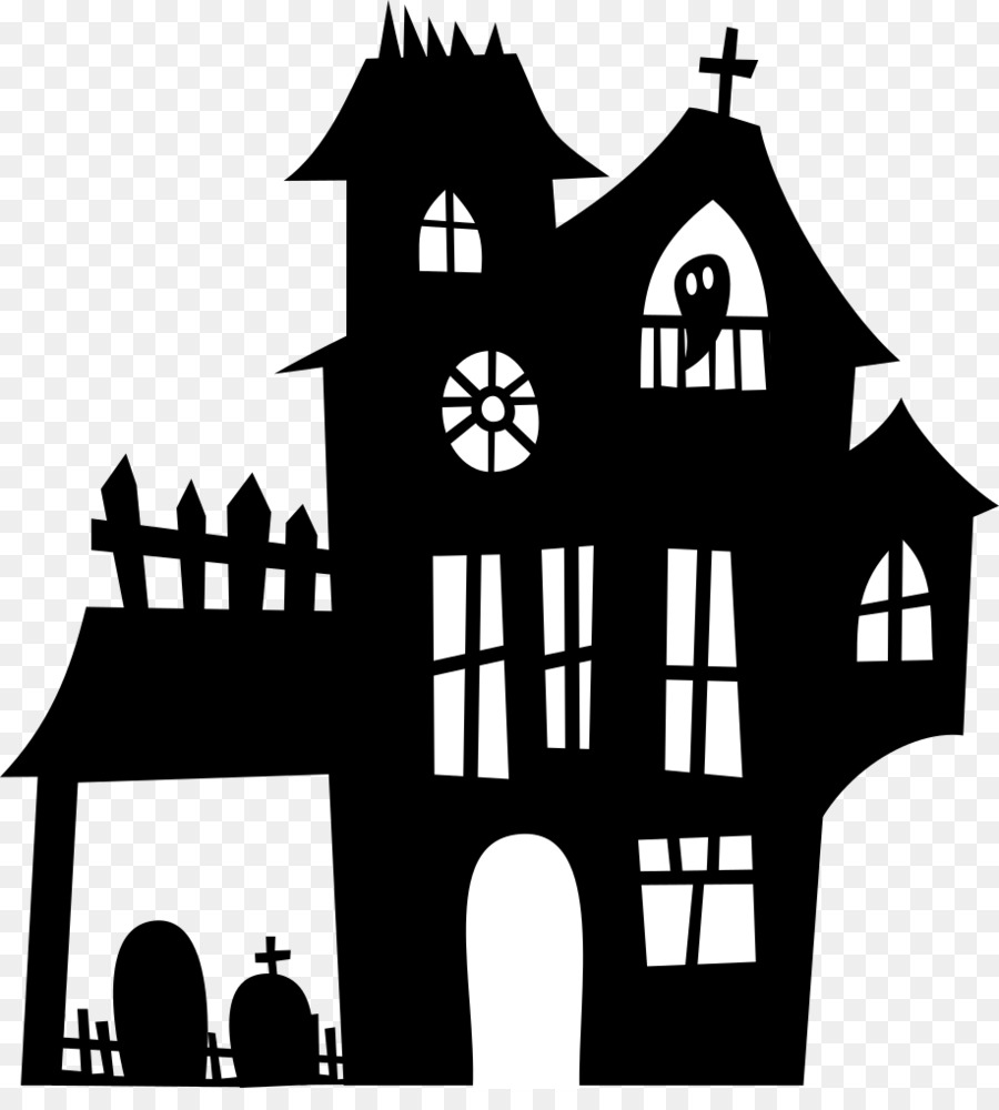 png freeuse House cartoon ghost silhouette. Haunted clipart