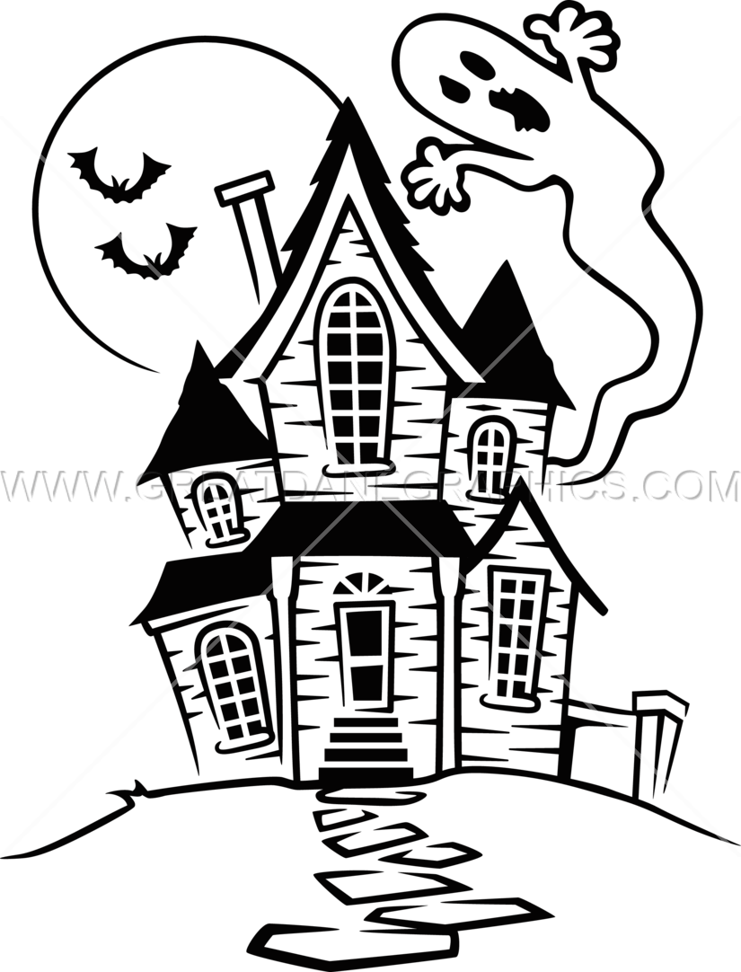 vector black and white library Mansion clipart easy cartoon. Haunted house drawing at.