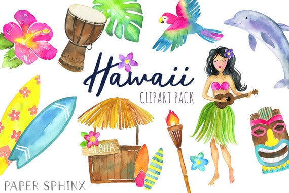 clipart freeuse library Hawaii clipart. Watercolor tropical island summer