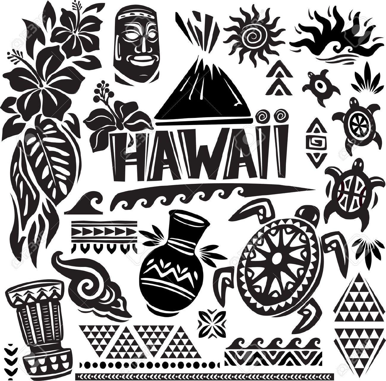 svg royalty free download Set hawaiian tribal . Hawaii clipart black and white