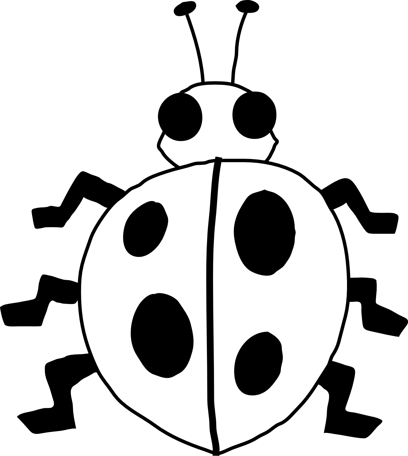 png freeuse Ladybug line art flower. Pillow clipart black and white