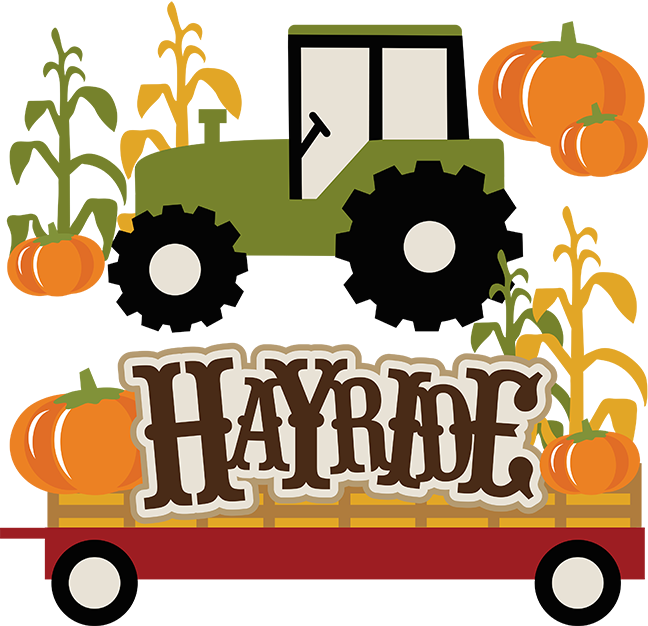 black and white stock Fall Hayride Clipart