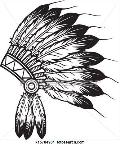 vector freeuse Headdress clipart. Indian chief and coloring.