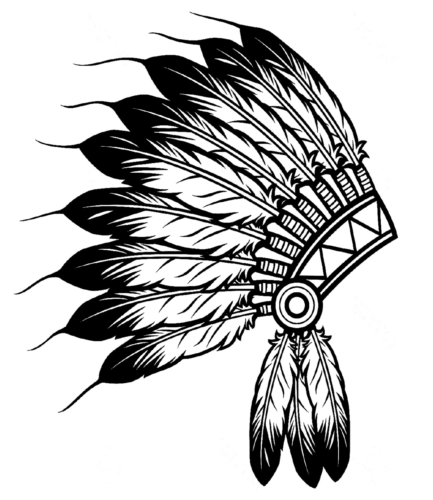 banner royalty free stock Free indian black and. Headdress clipart.