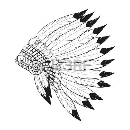 image royalty free stock Indian station . Headdress clipart black and white