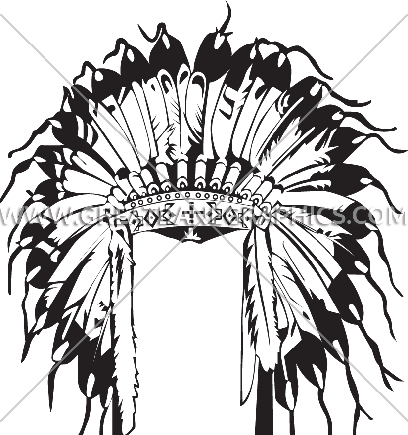 graphic free download Indian head dress production. Headdress clipart black and white