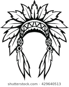 svg royalty free download Headdress clipart black and white. Indian station