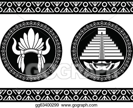 clipart royalty free library Vector pyramid and . Headdress clipart mayan
