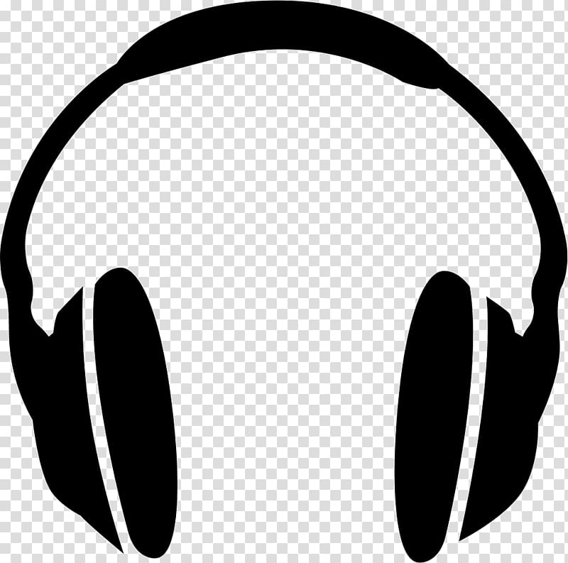 banner black and white download Headphones clipart. Grayscale illustration audio