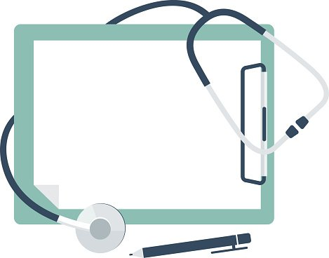 clipart black and white library Stethoscope with blank paper. Medical clipboard clipart.